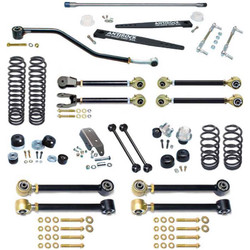TJ Johnny Joint 4 Inch Suspension System W/Antirock And Double Adjustable Upper Arms For Up To 35 Inch Tires Currie Enterprises