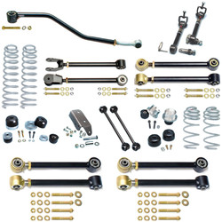 LJ Unlimited Johnny Joint 4 Inch Suspension System W/Sway Bar Disconnects For Up To 35 Inch Tires Currie Enterprises