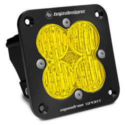 Flush Mount LED Light Pod Black Amber Lens Wide Cornering Pattern Squadron Sport Baja Designs