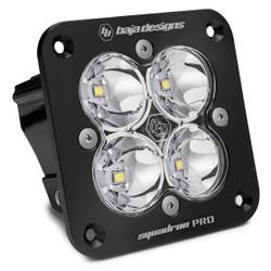 Flush Mount LED Light Pod Black Clear Lens Spot Pattern Squadron Pro Baja Designs