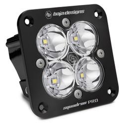 Flush Mount LED Light Pod Black Clear Lens Work/Scene Pattern Squadron Pro Baja Designs