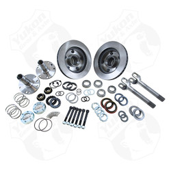 "Locking Hub Conversion Kit for '94-'99 Dodge Dana 44.The Yukon worry free Spin Free Kit replaces the vulnerable and expensive factory unit bearings with tapered bearings and races. The result is not only a design which is easier and more economical to service, but one that offers significant increases in mileage per gallon. This hub kit also includes low-profile Yukon Hardcore premium locking hubs, giving you more driving selectability. This kit includes new wheel hubs, spindles, high strength Yukon 4340 Chrome-Moly outer axles, Yukon Hardcore premium locking hubs, Timken bearings, high quality seals and all hardware for installation. Wheel hub diameter on this kit is larger than stock. If your vehicle is equipped with the factory aluminum wheels, the center will need to be machined to 3.450"" I.D to fit. The factory steel wheels will NOT work with this kit."