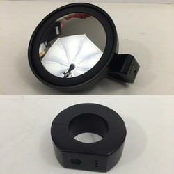 "5"" mirror in aluminum black housing with 1.5"" clamp with convex glass"