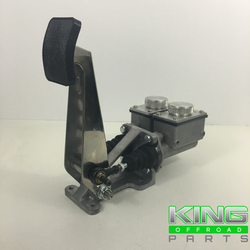 "dual brake pedal assembly with short square master cylinders ( 7/8"" x 7/8"" ) easy fill lids"