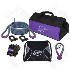 """*3/4"""" kinetic rope - 20 feet long    *Soft shackle    *Two D-rings    *One pair of gloves    *Storage bag    *Kinetic design increase pulling capacity by up to 30%     *Rated to 19,000 lbs."""