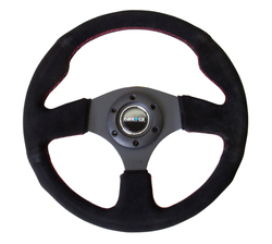 NRG 350 MM SUEDE STEERING WHEEL RED STITCHING