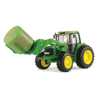 1/16 Big Farm John Deere 7330 Tractor with bale mover and round bale