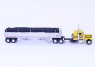 1/64 DCP Peterbilt 359 Flattop Sleeper with Wilson Pacesetter Grain Trailer yellow/black