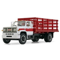 1/64 White/red GMC 6500 stake bed truck