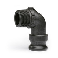 """Quick Clamp Adapter - 90 Degree, 1.5"""" Male QC x 1.5"""" Male NPT - Polypropylene (142MM-150NY)"""