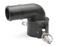"Quick Clamp Coupling - 90 Degree, 2"" Female QC x 2"" Hose Barb - Polypropylene (149FE-200NY)"