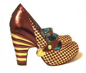 Irregular Choice Checkered gold Mary Janes 6.5
