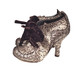 Irregular Choice Metallic Grey Abigail's Party, Ankle Boot with lace up Velvet Tie- side view