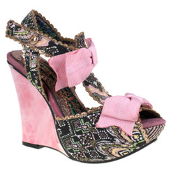 Irregular Choice Loves It, Black Wedge Platform Sandal, Bow Wedge Sandal