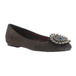 Quarter View: Women's Shoes, Women's Flats, Poetic Licence Zeldas Zing in Desert, Polka Dot Flats with Ornate Embellishment, Size 6.5
