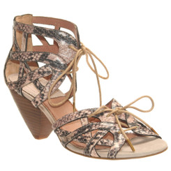 Bacio 61 Trono Leather Sandal, Lace up Sandal with Wooden Heel, Faux Reptile skin