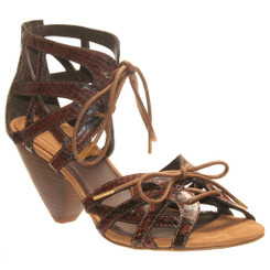 Bacio 61 Trono Leather Sandal, Lace up Sandal with Wooden Heel, Brown textured leather