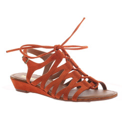 Madeline Girl Suave gladiator sandal, bold orange lace up flat sandal