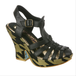 Irregular Choice Mumba, Gold and Black Platform Sandal