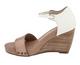 Nicole Savannah Sandal, Two tone wedge sandal, truffle color