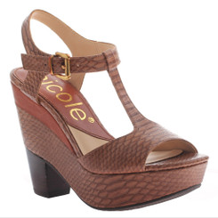 Nicole Gerry Sandal, T-Strap High Heel Sandal, havanna deep red