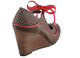 Back View: Women's Shoe,Poetic Licence Brightly Beaming, new chestnut, Retro wooden wedge with polka dots