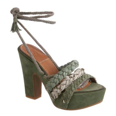 Bacio 61 Pandino Sandal, Women's High Heel Platform Wrap Ankle Sandal, Jungle Multi Color- Green