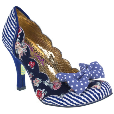 Irregular Choice Beach Trip- Women's Floral and stripe Pump with Bow front and mix pattern- Navy