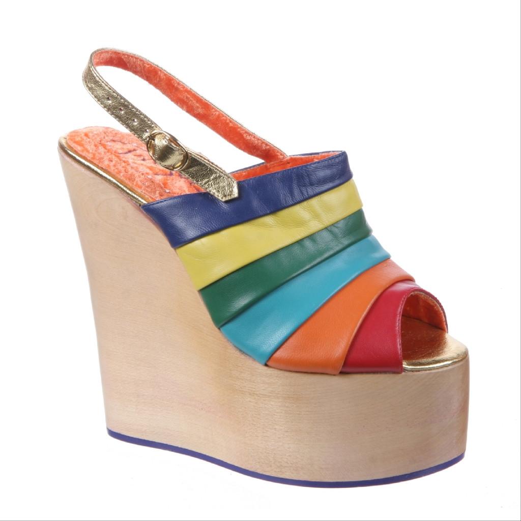 Irregular Choice Chica Chola Womens Wooden Platform Sandal Rainbow