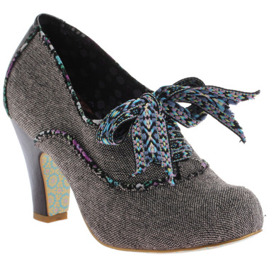 Irregular Choice Summer Berry- Womens Tweed Ankle boot with contrast piping.