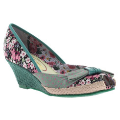 Poetic Licence Charmed Life, Teal & brown Mix pattern floral and polka dot wedge