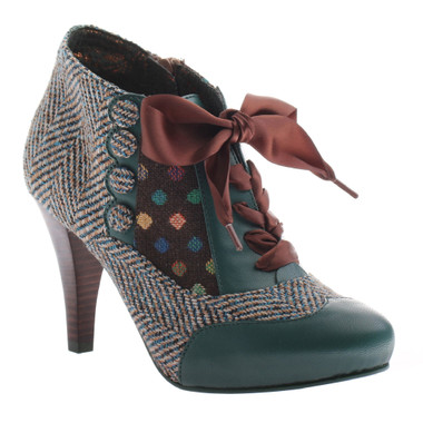 Poetic Licence Betsey's Buttons, Mix Tweed and polka dot, color Teal and Brown