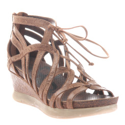 "Quarter View: OTBT- Nomadic Sandal- Women's Platform Leather Gladiator Sandal with 2.5"" Wedge Heel. Color Hickory."