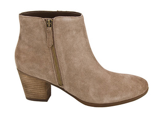 Nicole Stack Bootie, Women's Suede Bootie in Taupe