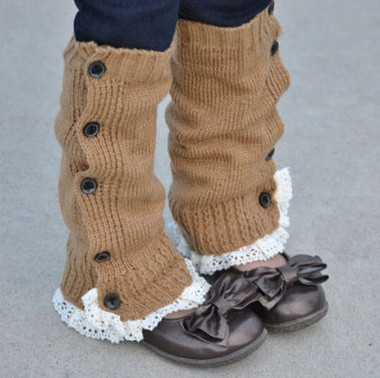 Berky Boo- Harper Legwarmers- Knitted Legwarmers with buttons and lace trim
