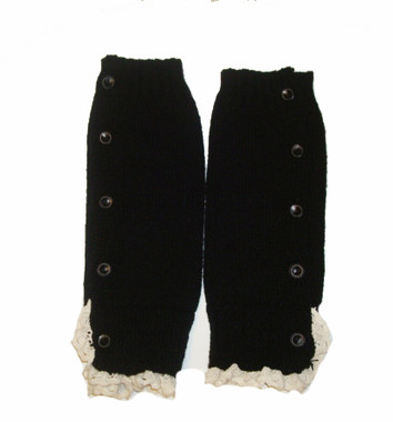 Berky Boo- Harper Legwarmers- Knitted Legwarmers with buttons and lace trim- Black