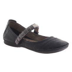 OTBT Brea- Women's Flat Mary Jane with Metal Studded Strap- Textured black scale leather