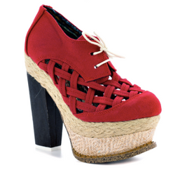 Irregular Choice Cupid's Sun Hat, Red Canvas Lattice Platform