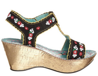 Irregular Choice- Once in a Blue Moon- Women's Wedge Sandal with Embroidery- Black
