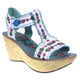 Irregular Choice- Once in a Blue Moon- Women's Wedge Sandal with Embroidery- White