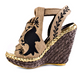 Irregular Choice Kupcake- Women's espadrille Wedge- Hemp with Black Bird Print-Natural