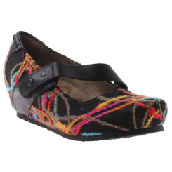 OTBT Salem Mary Jane Wedge- black multi color fabric