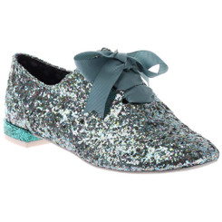 "Irregular Choice Gravitational Pull 2- Green, Silver Glittered brogue with 1/2"" heel and grey ribbon."