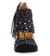 Irregular Choice Milkshake Mush, Pump with Mix prints and fabric wrap. Fringe at back heel, black and white dots.