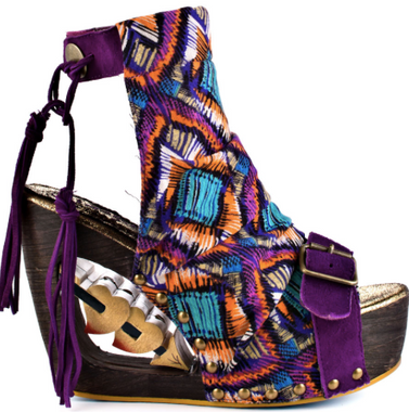 Irregular Choice Woodsock, Purple Tribal print open toe platform sandal, Wood Heel with cut out with hearts, Buckle front and ankle tie