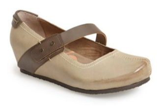 Quarter View: Women's Shoes, OTBT Salem Mary Jane Wedge- Stone Grey with Brown Leather Strap