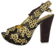 Irregular Choice Green Fly, Leopard Animal Print slingback High Heel with giraffe