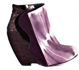 Irregular Choice Motherly Love, Wedge Tie Dye Ankle Bootie with mix leathers- Purple