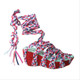 Irregular Choice Mish and Mash, Ankle wrap sandal, braided straps, in color red multi