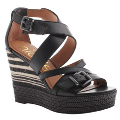 Nicole shoes- Danica- Women's Wedge Sandal, Striped Wedge Heel- Black